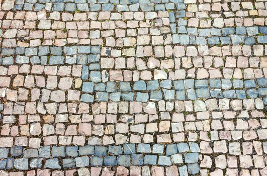Horizontally oriented cobblestone background texture
