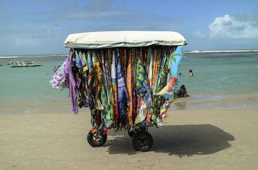 A vending cart in Chicken Beach in Ipojuca City near barrier reef, northeast Brazil