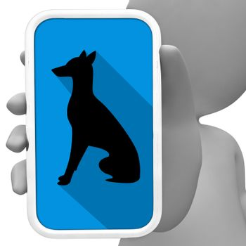 Dogs Online Showing Internet Cellphone And Pup 3d Rendering
