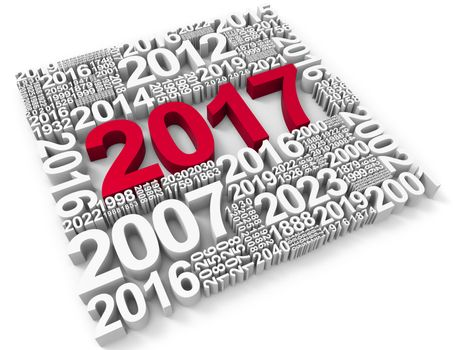 Twenty Seventeen Representing New Year And Festivities 3d Rendering