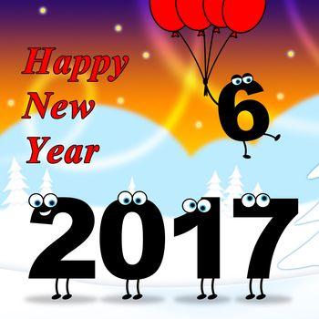 Twenty Seventeen Representing Happy New Year And Celebrate