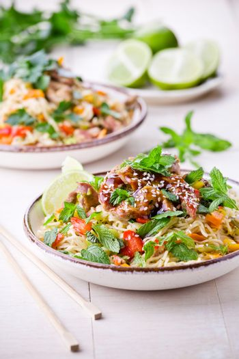 Thai Noodles With Pork And Vegetables