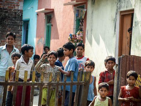 Amroha, Utter Pradesh, INDIA - 2011: Unidentified poor people living in slum