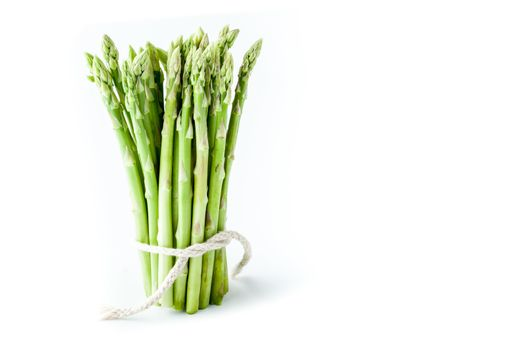 Bundle of asparagus at the left