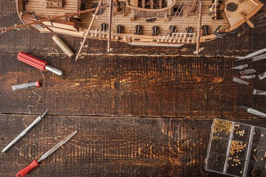 Model ships from the tree on a brown table