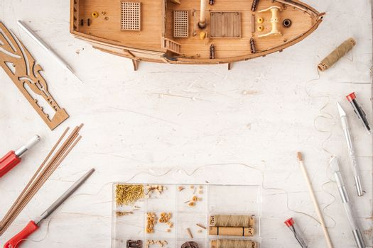 Model ships from the tree on a white table