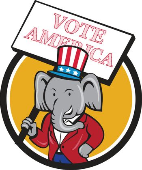 Republican Elephant Mascot Vote America Circle Cartoon