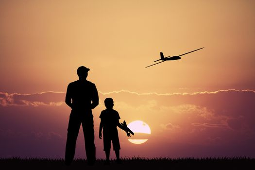 remote controlled airplanes at sunset