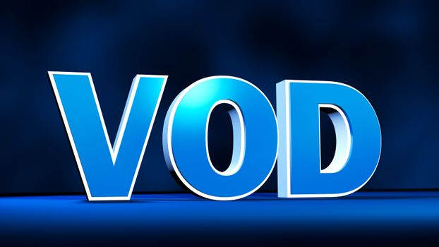VOD Video On Demand technology three-dimensional text