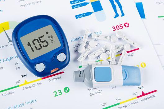 Diabetic test kit on medical background
