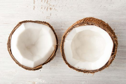 Coconuts  on the white table