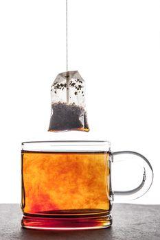 Brewed tea with tea bag