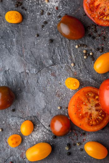 Tomatoes mix  with seasoning on the stone table