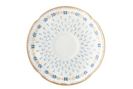 Old vintage porcelain plate on the white background