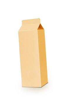 Yellow milk box per liter isolated on white