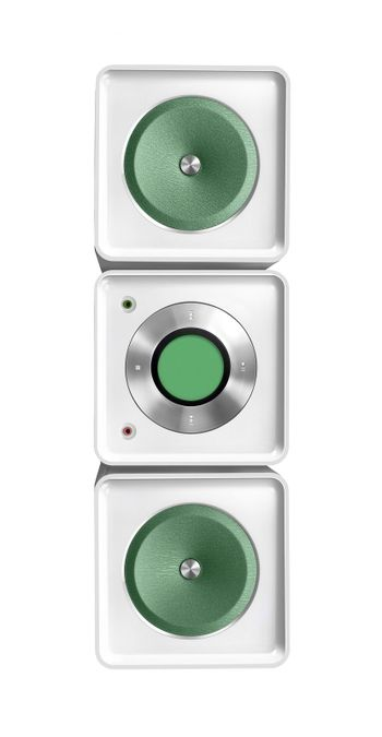 hifi player with loudspeakers isolated on white