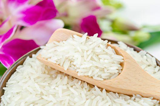 Raw white rice.