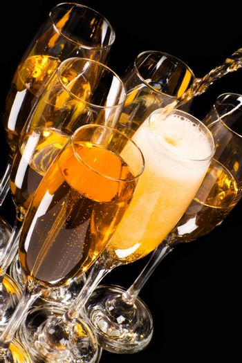 Champagne pour in a glass