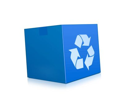 blue box represents recycling isolated on white