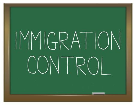 Illustration depicting a green chalkboard with an immigration control concept.