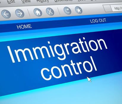 Illustration depicting a computer screen capture with an immigration control concept.