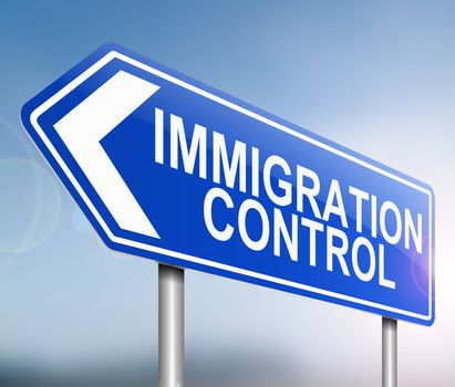 Illustration depicting a sign with an immigration control concept.