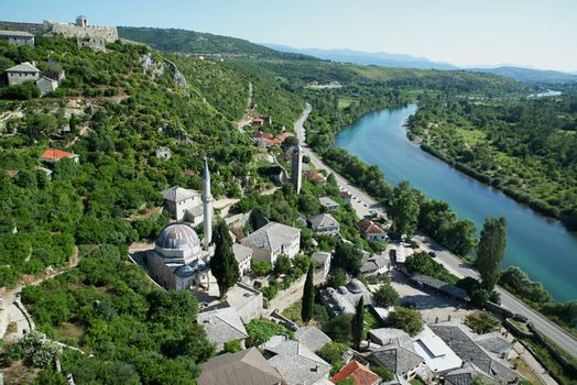 Panoramic view of Pocitelj, medieval city in Bosnia and Hercegovina