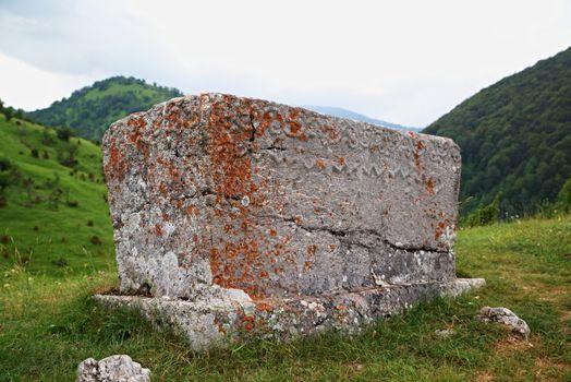 Mediaeval tombstones located in Lukomir village on Bjelasnica mountain, Bosnia and Herzegovina