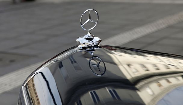 Emblem of Mercedes-Benz car on the traditional oldtimer cars relly in Zagreb, Croatia on Feb 25, 2012