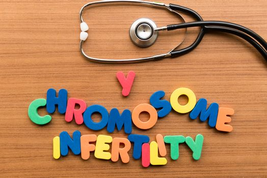Y chromosome infertility colorful word with stethoscope