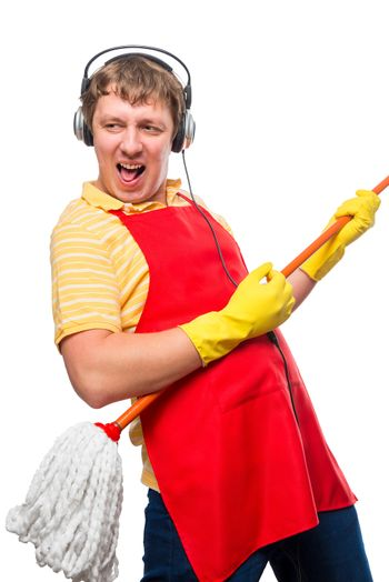 humorous photo male housewife with a mop on a white background