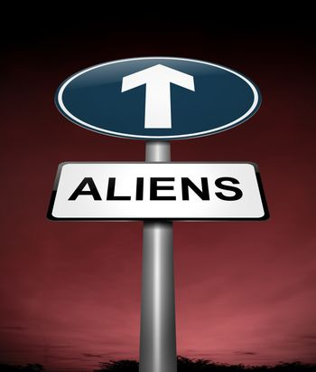 Illustration depicting a sign with an aliens concept.