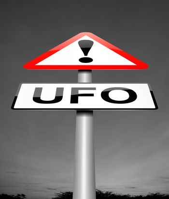 Illustration depicting a sign with a ufo concept.