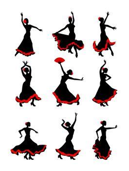 The girl dancing flamenco silhouette on a white background. Flamenco dancer silhouette set.