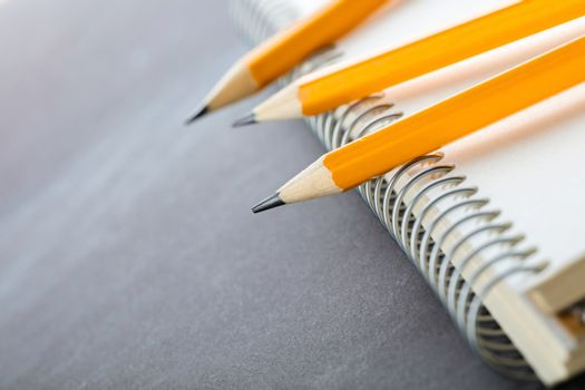 sharpened pencils and a notebook