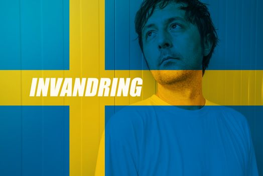 Immigrate to Sweden concept, Invandring meaning Immigration in S