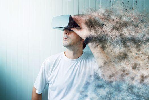 Man exploring virtual reality environment