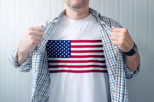 American patriot wearing white shirt with USA flag print