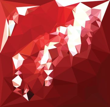Low polygon style illustration of a coquelicot red abstract geometric background.