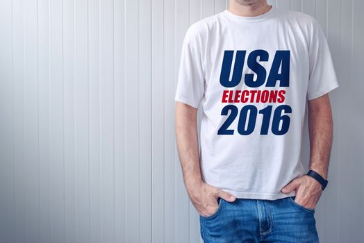 USA elections 2016, man wearing t-shirt with label printed