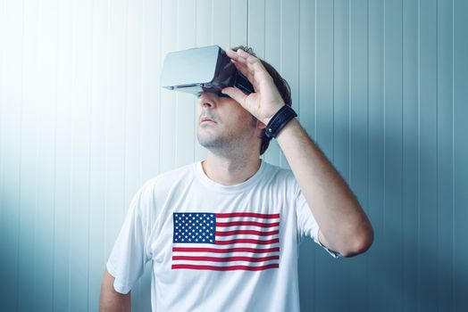 USA guy exploring virtual reality environment