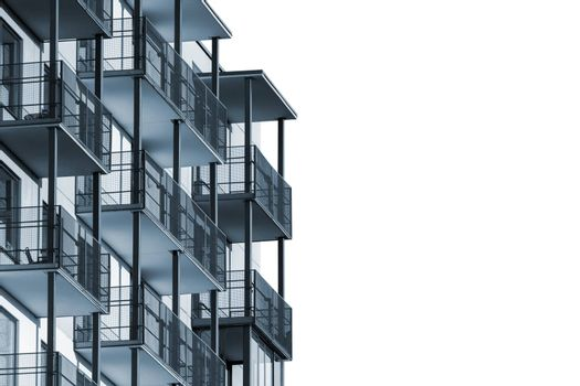 Modern apartment building with balconies isolated on white background to ad text