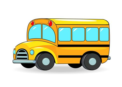 School bus cartoon of yellow color on a white background.