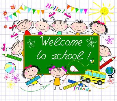 A group of children on the background of the school board greeting. Cartoon children schoolchildren.