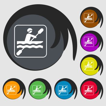 canoeing sign icon. Symbols on eight colored buttons. Vector