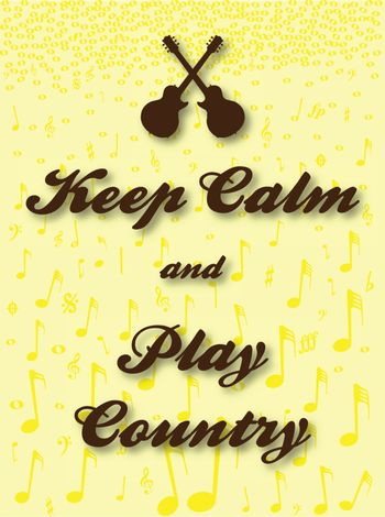 Keep Calm guitar and country music background poster