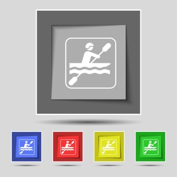 canoeing icon sign on original five colored buttons. Vector