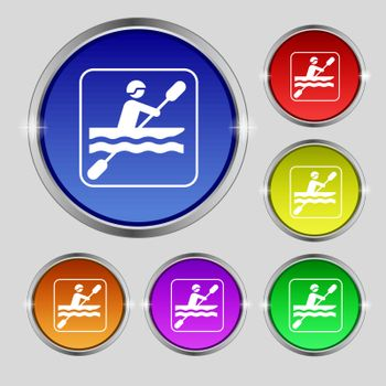 canoeing icon sign. Round symbol on bright colourful buttons. Vector