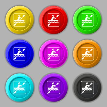 canoeing icon sign. symbol on nine round colourful buttons. Vector