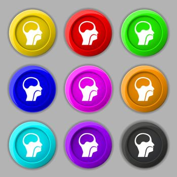 larynx, Medical Doctors Otolaryngology icon sign. symbol on nine round colourful buttons. Vector